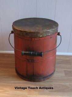 19th Century Wood Firkin with Bail Handle.                                  ****
