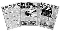 Choose from a range of top newspaper match reports for your team.  Select a top match report from the last 100 years for your favourite football club. Famous sporting moments & photos captured in a reprint.  What happened on that special game or event? Was your club making history? #fulham #fulhamfc #fulhamfcgifts #footballgifts #football #giftsforhim #giftsforteens #cottagers