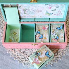 Baby girl butterflies memory box, personalized baby keepsake box