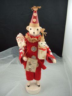 Bethany Lowe Christmas Carnival Teddy Decoration Holiday Bear Santa Mask | eBay