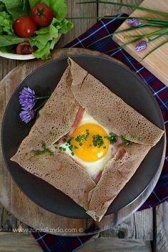 Ricetta crepes di grano saraceno Galette bretonne complète recipe con uovo e prosciutto cotto