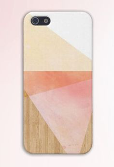 Geometric Pink x Orange Triangles x Yellow Wood Case