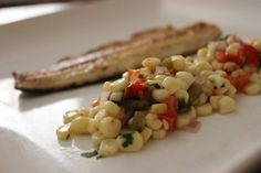 Roasted Corn Salad and Trout