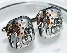 Longines Men Watch Cufflinks - with Genuine Longines Watch Movements. Available at Time In Fantasy. $135