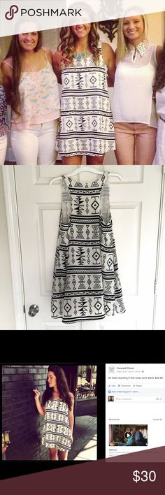 Tribal Print Boutique Dress Bought for my birthday! Only wore a couple times after. 100% Polyester. Great condition. No stains or damages. This dress is obviously a little small on me in the chest area. Potter's Pot Dresses Mini