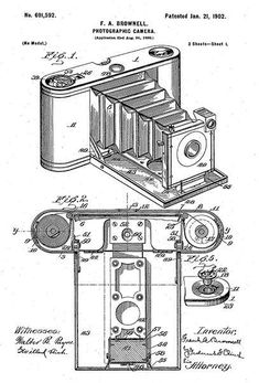 1902 - Photographic Camera - F. A. Brownell - Patent Art Poster #patentartvintage