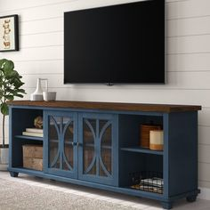 Peachstone TV Stand for TVs up to / Home Decor / Decoration / Navy TV Console / Wayfair TV Stand for Living Room / Livingroom Furniture / Statement Furniture Tv Stand Decor, Diy Tv Stand, Tv Stand Makeover, Furniture Makeover, Home Furniture, Office Furniture, Modern Furniture, Outdoor Furniture, Blue Tv Stand