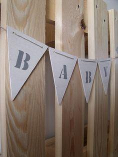 Wooden garland Baby - Houten slinger Baby - Creations by Corline (ook met andere tekst te bestellen)