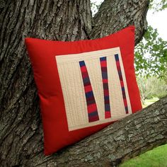 Modern Red Pillow Red Quilted Pillow Cover Fiber by TwiggyandOpal, $49.00