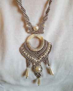Macrame necklace with pearls and bone CL11 by FilodiFili on Etsy