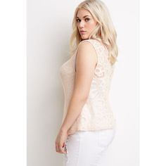 Forever 21 Plus Embroidered Mesh-Back Top ($18) ❤ liked on Polyvore