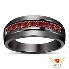0.90 CT Round Cut Red Garnet 925 Silver 14k Black Gold Plated Men's Wedding Band #affoin8 #MensWeddingBandRing #WeddingEngagementBand