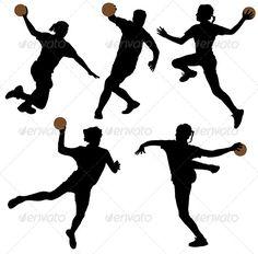 Buy Handball Silhouette by iamsania on GraphicRiver. Handball Silhouette on white background Theme Sport, Handball Players, Sport Cakes, Susa, Netball, Graphics Fairy, Printed Shirts, Stencils, Stock Photos