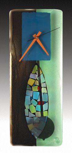 Portal Fused Glass Pendulum Clock: Nina Cambron: Art Glass Clock - Artful Home