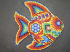 mexican art | Huichol Clay Fish - Latin - Mexican Folk Art Craft