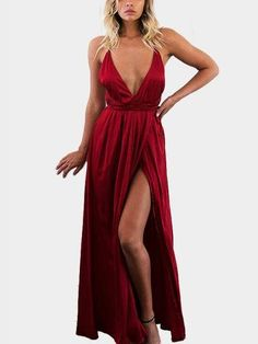 Sexy V-neck Backless Splited Hem Maxi Dress in Red #TodaysFashionTrends