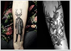 Tattoo-designs-tattoo-ideas-the-stag-gentleman-deer-arm-tattoo Tattoos Arm Mann, Dad Tattoos, Arm Tattoos For Guys, Body Art Tattoos, Girl Tattoos, Tattoos For Women, Tattoo Women, Deer Tattoo Meaning, Tattoos With Meaning