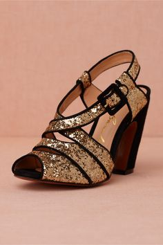 Bright Flight Gold and Black Trim Heels- BHLDN. These are great comfy heels and easy to walk in.