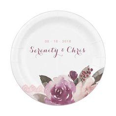 Purple Striped Plates, 20th Wedding Anniversary Paper Plate | 20 ...