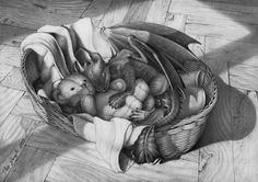 Sleeping baby Night Fury; my little pet dragon - Toother. Art by DanGref from http://dangref.deviantart.com/