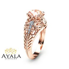 14K Rose Gold Morganite Engagement Ring Filigree by AyalaDiamonds