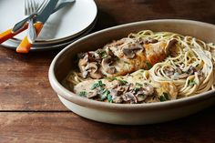 Chicken Marsala // 8 ounces fresh button or cremini mushrooms, stems removed and sliced 2 tablespoons extra-virgin olive oil, divided 2 boneless, skinless chicken breasts Salt and pepper, to taste 1/2 cup plus 1 splash sweet Marsala wine, divided 3 garlic cloves, minced 1/2 cup heavy cream 1/2 cup chicken broth 2 tablespoons unsalted butter