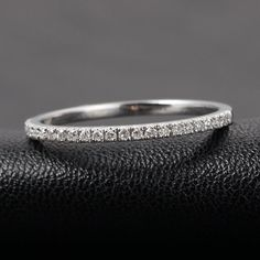 $239: French V Pave Diamond Wedding Band Half Eternity Anniversary Ring 14K White Gold