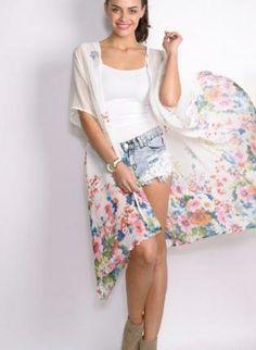 UsTrendy Long Sheer White Floral Kimono