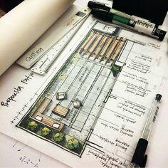 Bildergebnis für drawing interior design sketches stone - Hints for Women Architecture Sketchbook, Garden Architecture, Architecture Plan, Landscape Sketch, Landscape Drawings, Landscape Design, Drawing Interior, Interior Design Sketches, Sketches Arquitectura