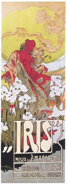 Adolfo Hohenstein.  Poster for the 1898 Milan production of the opera Iris.