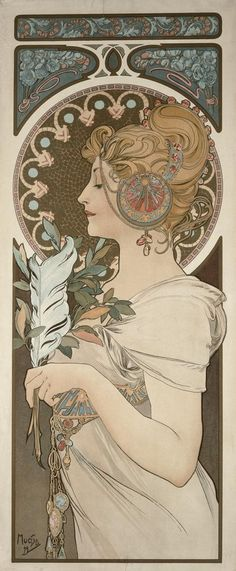 Alphonse Mucha (Czech, 1860 - 1939). Feather, 1899. Color Lithograph, 71 x 27.3.