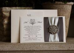 Invitation 771: Ivory Pearl, White Gold, Cream Smooth, Sloop, High Tower, Charcoal Ribbon, Charcoal Ribbon, Antique Ribbon, Brooch/Buckle X - Wedding Invitations, Bridal Shower Invitations, Pocketfold, Rhinestone Pearl Buckles