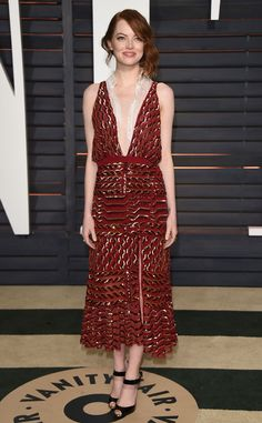 Emma Stone, Academy Awards - Oscars 2015 after party  Altuzarra dress. Love Emma's 20s style