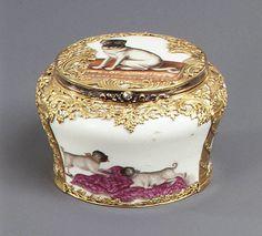 Snuffbox   Factory: Meissen Manufactory (German, 1710–present)   Date: ca. 1760  Culture: German, Meissen  Medium: Hard-paste porcelain, gold, silver, diamonds, rubies  Dimensions: 2 1/8 × 3 1/8 in. (5.4 × 7.9 cm)  Classification: Ceramics-Porcelain