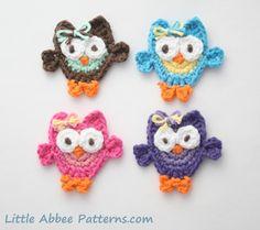 CROCHET PATTERN Owl Applique PDF 66 by littleabbee on Etsy, $3.99