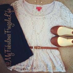 what I wore | outfit layout | ootd | teacher clothes | belted lace peplum | skinny jeans | pearls | studded ballet flats