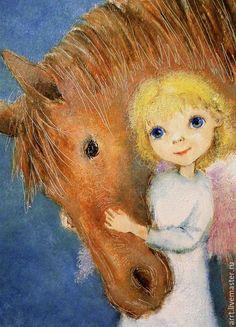 Купить Ангел с лошадкой Принт 15х20см - ангел, ангелочек, ангелы картины, Ангел хранитель