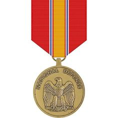 "National Defense Service Medal. Medal is a service medal of the United States Armed Forces established by President Dwight D. Eisenhower in 1953. The medal awarded to service members who served honorably during a designated time period of which a ""national emergency"" had been declared during a time of war or conflict."