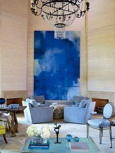 color-and-artwork-interior-decoration | large blue and white oversized abstract original painting | living room contemporary | modern residential interior design ideas | small metal sculpture
