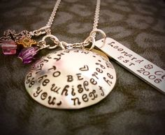 FREE SHIPPING personalized hand stamped love quote necklace for girlfriend boyfriend couples wedding gift on Etsy, $27.99