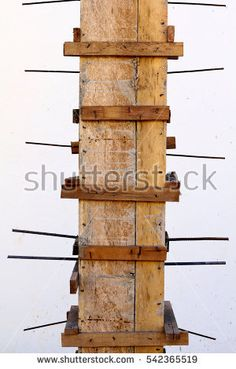 Reinforced Wooden Column Box, House Construction Site, Laos