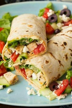 Grilled chicken and hummus salad wrap  on We Heart It