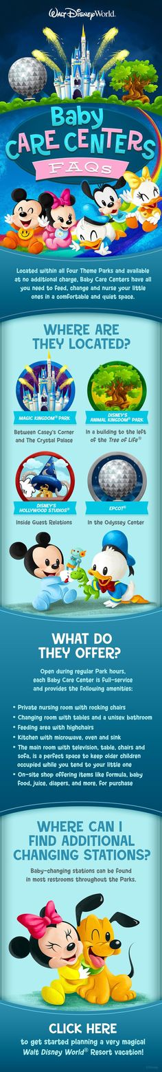 Visiting Walt Disney world with a baby or toddler? Check out these Baby Care Center FAQs to prepare for your vacation!