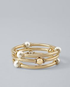 Faux Pearl Tube Stretch Bracelet