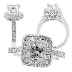 Custom Made 18k White Gold Diamond Engagement Ring Semi-Mount, Holds 5.5mm Princess Cut