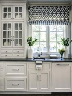 Black & white Roman shade
