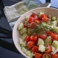 Tomato Cucumber Salad III Recipe  For the 24 day Challenge, I remove the salt and add dill.  Love it!
