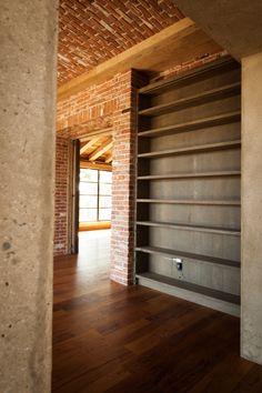 Book shelving from reclaimed lumber: http://benriddering.com/2012/08/25/library-shelving/