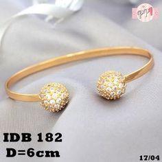 Lapis Emas Gelang Bola kembar Permata Gold 18k DB182