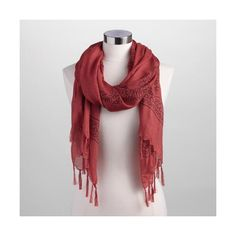 Cost Plus World Market Chili Red Prayer Shawl ($9.99) ❤ liked on Polyvore featuring accessories, scarves, orange, tassel scarves, shawl scarves, red shawl, cost plus world market and red scarves